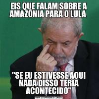 EIS QUE FALAM SOBRE A AMAZÔNIA PARA O LULA 'SE EU ESTIVESSE AQUI NADA DISSO TERIA ACONTECIDO'