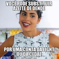 VOCÊ PODE SUBSTITUIR AZEITE DE DENDÊPOR UMA CONTA DA LIGHT OU DA CEDAE