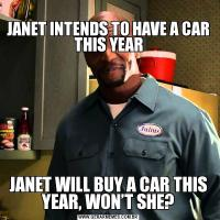 JANET INTENDS TO HAVE A CAR THIS YEARJANET WILL BUY A CAR THIS YEAR, WON'T SHE?