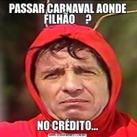 PASSAR CARNAVAL AONDE FILHÃO     ?NO CRÉDITO...