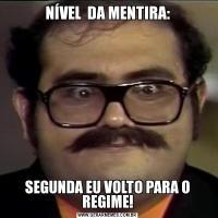 NÍVEL  DA MENTIRA:SEGUNDA EU VOLTO PARA O REGIME!
