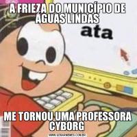 A FRIEZA DO MUNICÍPIO DE ÁGUAS LINDASME TORNOU UMA PROFESSORA CYBORG