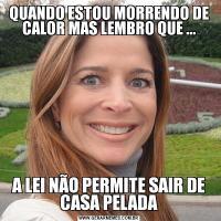 QUANDO ESTOU MORRENDO DE CALOR MAS LEMBRO QUE ...A LEI NÃO PERMITE SAIR DE CASA PELADA