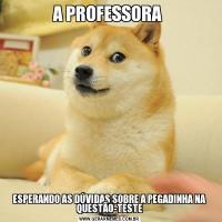 A PROFESSORA ESPERANDO AS DÚVIDAS SOBRE A PEGADINHA NA QUESTÃO-TESTE