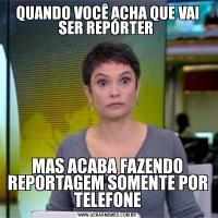 QUANDO VOCÊ ACHA QUE VAI SER REPÓRTER MAS ACABA FAZENDO REPORTAGEM SOMENTE POR TELEFONE