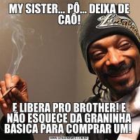 MY SISTER... PÔ... DEIXA DE CAÔ!E LIBERA PRO BROTHER! E NÃO ESQUECE DA GRANINHA BÁSICA PARA COMPRAR UM!
