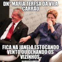 DNª MARIA TERESA DA VILA CARRÃOFICA NA JANELA ESTOCANDO VENTO OU OLHANDO OS VIZINHOS.