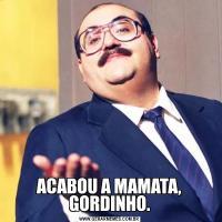 ACABOU A MAMATA, GORDINHO.
