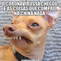 O CORONAVÍRUS JÁ CHEGOU, E AS COISAS QUE COMPREI NA CHINA NADA.