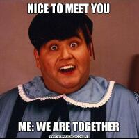 NICE TO MEET YOUME: WE ARE TOGETHER