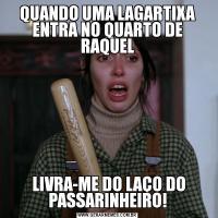 QUANDO UMA LAGARTIXA ENTRA NO QUARTO DE RAQUEL LIVRA-ME DO LAÇO DO PASSARINHEIRO!