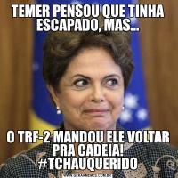 TEMER PENSOU QUE TINHA ESCAPADO, MAS...O TRF-2 MANDOU ELE VOLTAR PRA CADEIA! #TCHAUQUERIDO