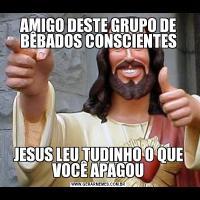 AMIGO DESTE GRUPO DE BÊBADOS CONSCIENTESJESUS LEU TUDINHO O QUE VOCÊ APAGOU