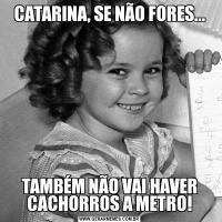 CATARINA, SE NÃO FORES...TAMBÉM NÃO VAI HAVER CACHORROS A METRO!