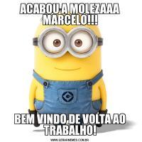 ACABOU A MOLEZAAA MARCELO!!!BEM VINDO DE VOLTA AO TRABALHO!