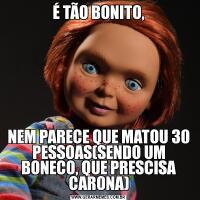 É TÃO BONITO,NEM PARECE QUE MATOU 30 PESSOAS(SENDO UM BONECO, QUE PRESCISA CARONA)