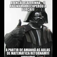 ATENÇÃO GALERINHA... O RAFINHA JÁ RECUPEROU A FORÇA!!!A PARTIR DE AMANHÃ AS AULAS DE MATEMÁTICA RETORNAM!!!