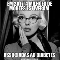 EM 2017, 4 MILHÕES DE MORTES ESTIVERAM  ASSOCIADAS AO DIABETES