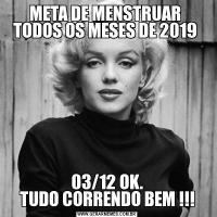 META DE MENSTRUAR  TODOS OS MESES DE 2019 03/12 OK. TUDO CORRENDO BEM !!!