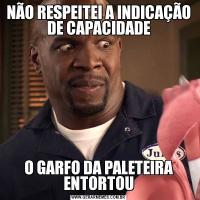 NÃO RESPEITEI A INDICAÇÃO DE CAPACIDADEO GARFO DA PALETEIRA ENTORTOU