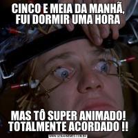 CINCO E MEIA DA MANHÃ, FUI DORMIR UMA HORAMAS TÔ SUPER ANIMADO! TOTALMENTE ACORDADO !!