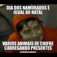 DIA DOS NAMORADOS É IGUAL AO NATALVARIOS ANIMAIS DE CHIFRE CARREGANDO PRESENTES