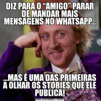 """DIZ PARA O """"AMIGO"""" PARAR DE MANDAR MAIS MENSAGENS NO WHATSAPP......MAS É UMA DAS PRIMEIRAS A OLHAR OS STORIES QUE ELE PUBLICA!"""
