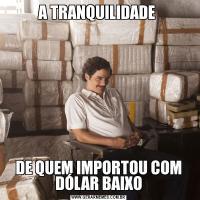 A TRANQUILIDADE DE QUEM IMPORTOU COM DÓLAR BAIXO
