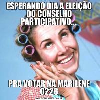 ESPERANDO DIA A ELEIÇÃO DO CONSELHO PARTICIPATIVO... PRA VOTAR NA MARILENE 0228