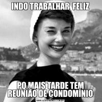 INDO TRABALHAR  FELIZPQ MAIS TARDE TEM REUNIÃO DE CONDOMÍNIO