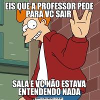 EIS QUE A PROFESSOR PEDE PARA VC SAIR SALA E VC NÃO ESTAVA ENTENDENDO NADA