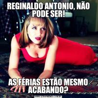 REGINALDO ANTONIO, NÃO PODE SER!AS FÉRIAS ESTÃO MESMO ACABANDO?