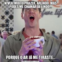 NIVEA, MUITO PRAZER, ARLINDO, MAS PODES ME CHAMAR DE LINDO...PORQUE O AR JÁ ME TIRASTE...
