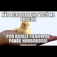 NÃO ACREDITO QUE VOCÊ ME TROCOUPOR AQUELE FILHOTE DE PAVÃO HORROROSO!