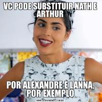 VC PODE SUBSTITUIR NATH E ARTHURPOR ALEXANDRE E LANNA, POR EXEMPLO