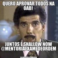 QUERO APROVAR TODOS NA OAB! JUNTOS E SHALLOW NOW @MENTORIAEXAMEDEORDEM