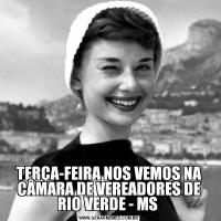 TERÇA-FEIRA NOS VEMOS NA CÂMARA DE VEREADORES DE RIO VERDE - MS