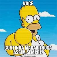 VOCÊCONTINUA MARAVILHOSA ASSIM SEMPRE.