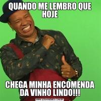 QUANDO ME LEMBRO QUE HOJECHEGA MINHA ENCOMENDA DA VINHO LINDO!!!