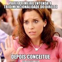 PARE! PRIMEIRO ENTENDA A  TRIDIMENCIONALIDADE DO DIREITODEPOIS CONCEITUE