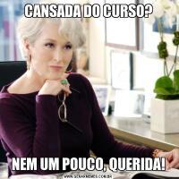 CANSADA DO CURSO?NEM UM POUCO, QUERIDA!