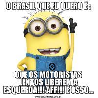 O BRASIL QUE EU QUERO É :QUE OS MOTORISTAS LENTOS LIBEREM A ESQUERDA!!! AFF!!! É OSSO...
