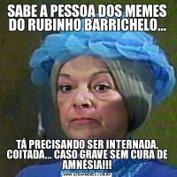 SABE A PESSOA DOS MEMES DO RUBINHO BARRICHELO...TÁ PRECISANDO SER INTERNADA, COITADA... CASO GRAVE SEM CURA DE AMNÉSIA!!!