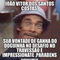 JOÃO VITOR DOS SANTOS COSTAS  SUA VONTADE DE GANHA DO DOGUINHA NO DESAFIO NO TRAVESSÃO É IMPRESSIONATE .PARABENS