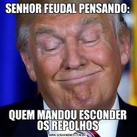 SENHOR FEUDAL PENSANDO:QUEM MANDOU ESCONDER OS REPOLHOS