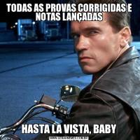 TODAS AS PROVAS CORRIGIDAS E NOTAS LANÇADASHASTA LA VISTA, BABY