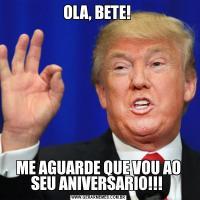 OLA, BETE! ME AGUARDE QUE VOU AO SEU ANIVERSARIO!!!
