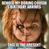 BEHOLD MY BORING COUSIN S BIRTHDAY ARRIVESTHIS IS THE PRESENT