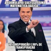 A FÓRMULA DO SUCESSO É UMA MATEMÁTICA BÁSICA...10% INSPIRAÇÃO E 90% DE TRANSPIRAÇÃO