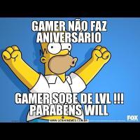 GAMER NÃO FAZ ANIVERSÁRIOGAMER SOBE DE LVL !!! PARABÉNS WILL